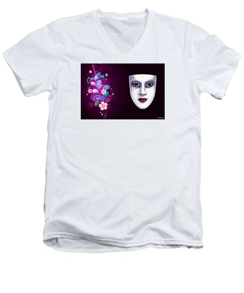 Men's V-Neck T-Shirt featuring the photograph Mask With Blue Eyes Floral Design by Gary Crockett