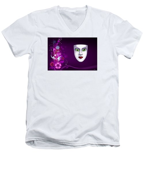 Men's V-Neck T-Shirt featuring the photograph Mask With Green Eyes On Pink Floral Background by Gary Crockett