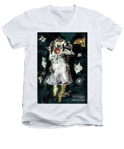 Men's V-Neck T-Shirt featuring the painting Masked Angel Holding The Sun by Genevieve Esson