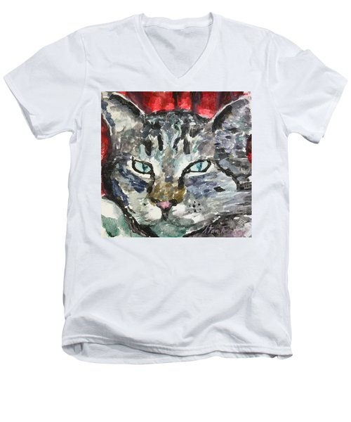 Men's V-Neck T-Shirt featuring the painting Mason by Stan Tenney