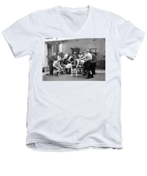 Massage Between Wrestlers Training 1904 Men's V-Neck T-Shirt