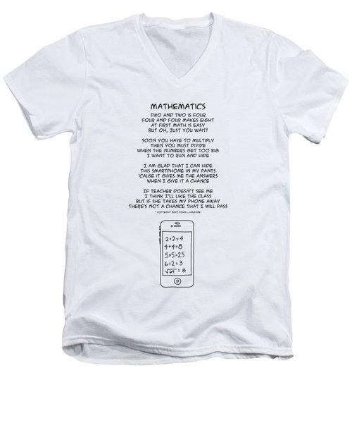 Men's V-Neck T-Shirt featuring the drawing Mathematics by John Haldane