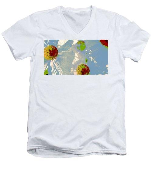 Men's V-Neck T-Shirt featuring the photograph Matilija Poppies Pop Art by Ben and Raisa Gertsberg