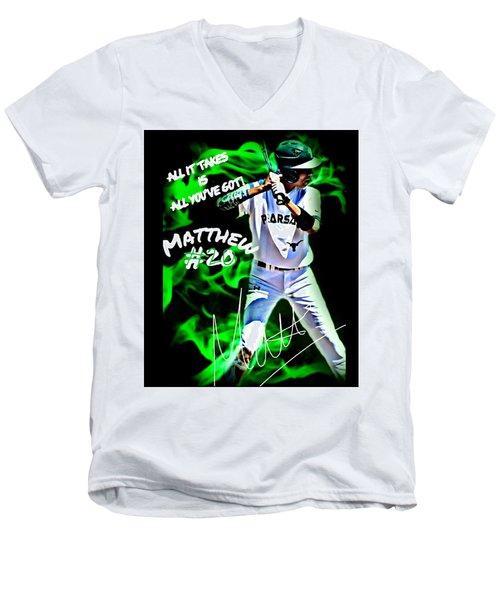 Matthew #20 Men's V-Neck T-Shirt by Linda Cox