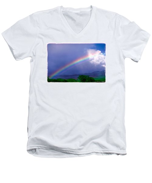 Men's V-Neck T-Shirt featuring the photograph Maui Rainbow by Marie Hicks