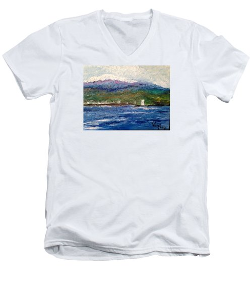 Mauna Kea At Hilo Bay Men's V-Neck T-Shirt