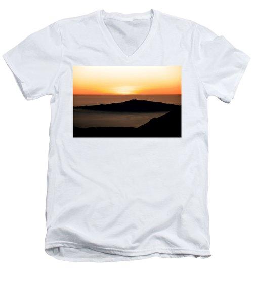 Men's V-Neck T-Shirt featuring the photograph Mauna Kea Sunset by Jennifer Ancker