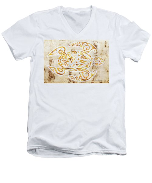 Men's V-Neck T-Shirt featuring the painting Mayan Turtle by J- J- Espinoza