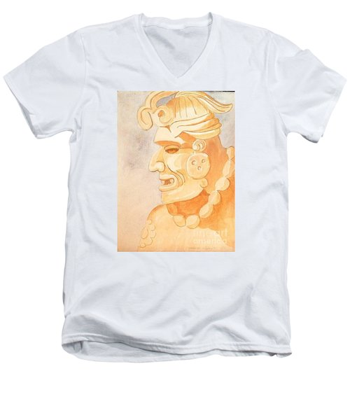 Mayan Warrior Men's V-Neck T-Shirt by Fred Jinkins