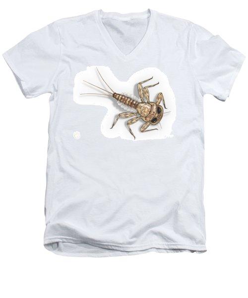Mayfly Larva Nymph Rithorgena Ecdyonurus Venosus - Moscas De May Men's V-Neck T-Shirt