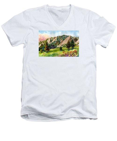Meadow At Chautauqua Men's V-Neck T-Shirt by Anne Gifford