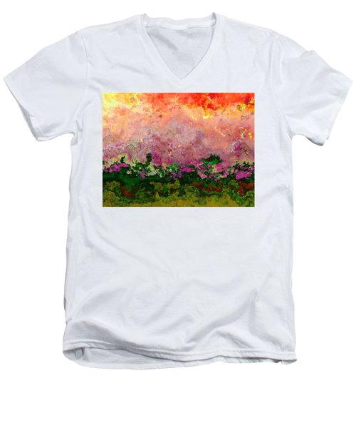 Men's V-Neck T-Shirt featuring the digital art Meadow Morning by Wendy J St Christopher