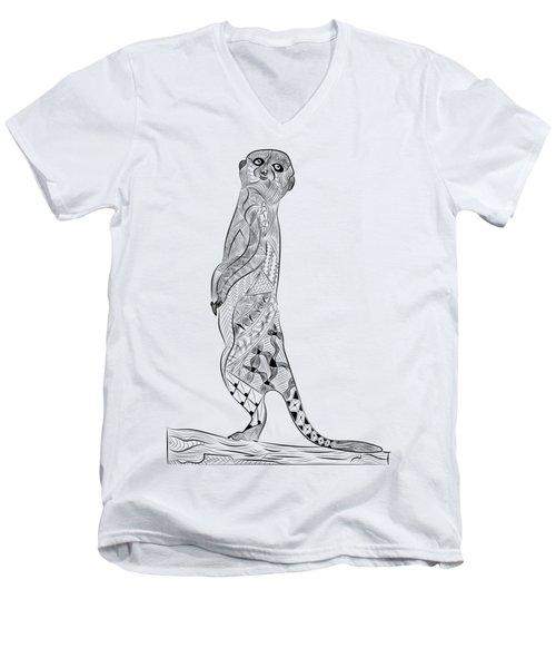Meerkat Men's V-Neck T-Shirt by Serkes Panda