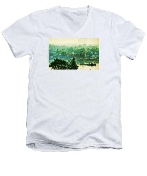 Men's V-Neck T-Shirt featuring the digital art Mekong Morning by Cameron Wood