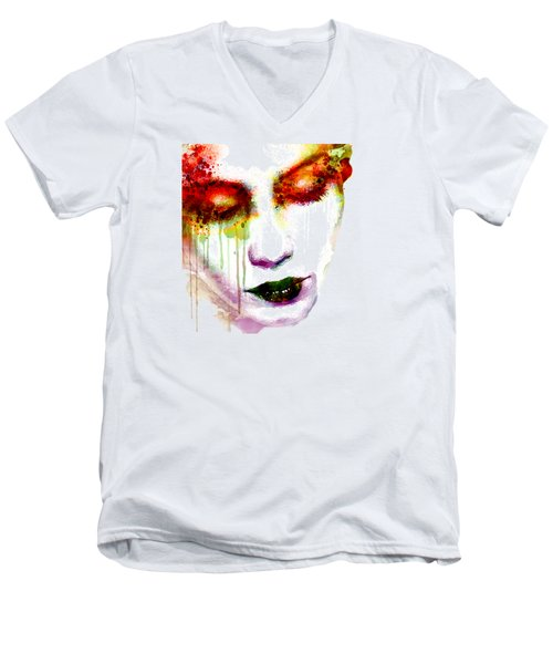 Melancholy In Watercolor Men's V-Neck T-Shirt by Marian Voicu