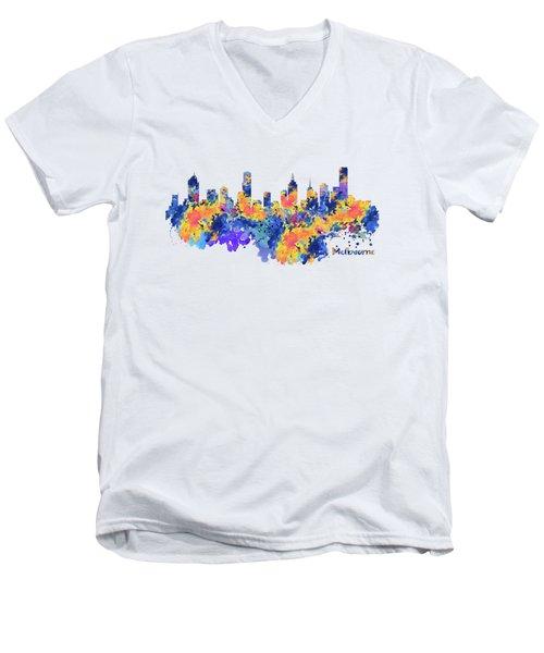 Melbourne Watercolor Skyline Men's V-Neck T-Shirt
