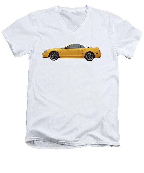 Mellow Yellow 1999 Mustang  Men's V-Neck T-Shirt by Gill Billington