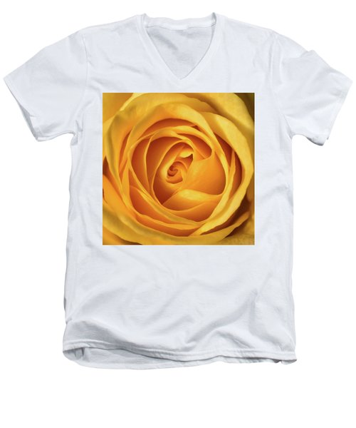Men's V-Neck T-Shirt featuring the photograph Mellow Yellow Rose Square by Terry DeLuco