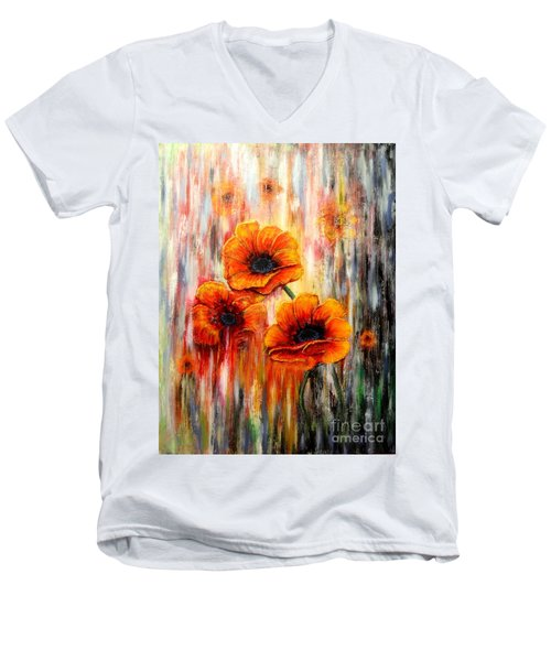 Melting Flowers Men's V-Neck T-Shirt by Greg Moores