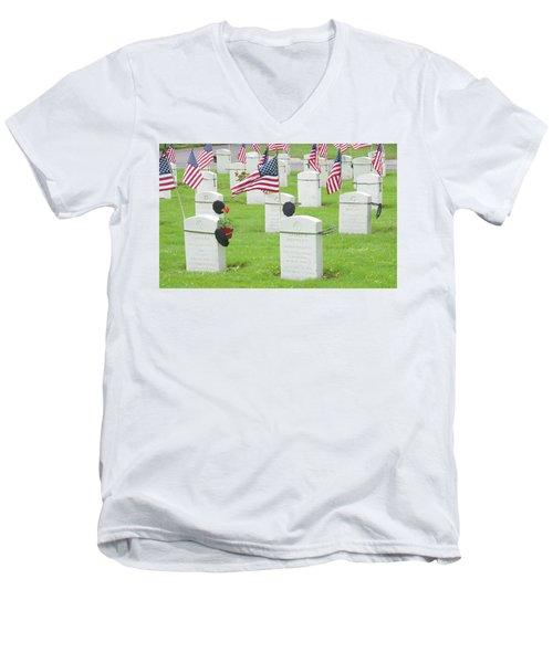 Memorial Day Two Men's V-Neck T-Shirt by Caroline Stella