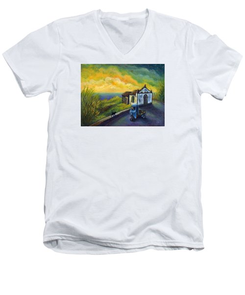 Memories Neath A Yellow Sky Men's V-Neck T-Shirt