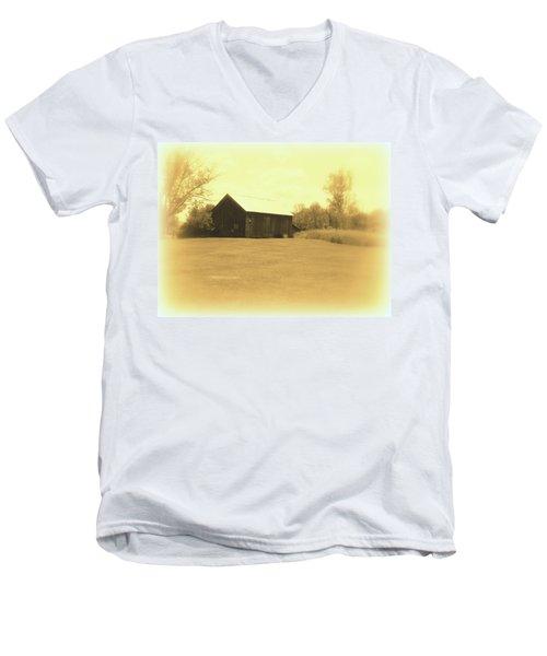 Memories Of Long Ago - Barn Men's V-Neck T-Shirt by Susan Lafleur
