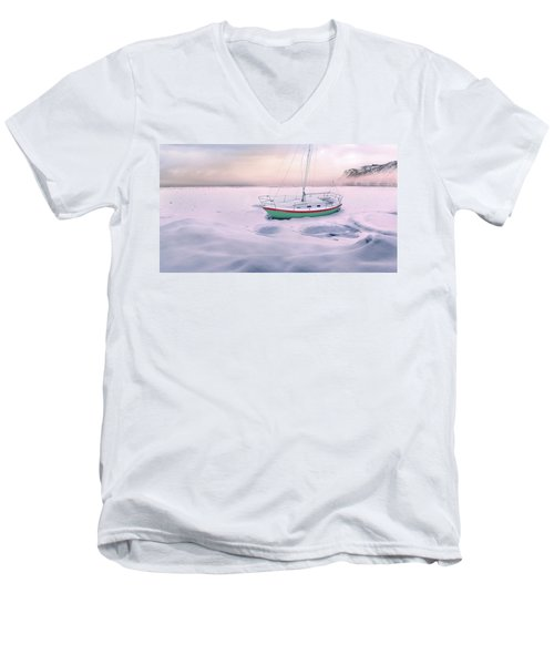Men's V-Neck T-Shirt featuring the photograph Memories Of Seasons Past - Prisoner Of Ice by John Poon
