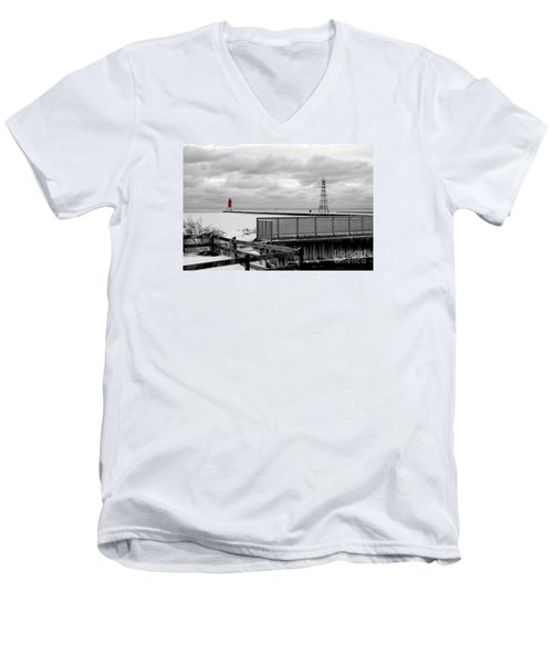 Men's V-Neck T-Shirt featuring the photograph Menominee North Pier Lighthouse On Ice by Mark J Seefeldt