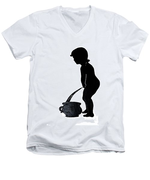 Mens Room Sign Silhouette Men's V-Neck T-Shirt