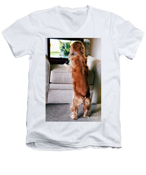 Men's V-Neck T-Shirt featuring the photograph Meow Woof by Polly Peacock