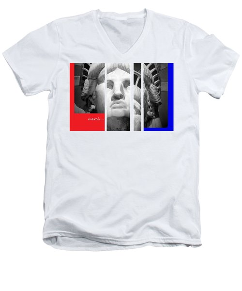 Men's V-Neck T-Shirt featuring the mixed media Merci by Andrew Drozdowicz