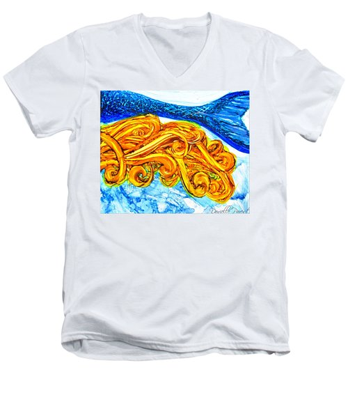 Mermaid Alcohol Inks Men's V-Neck T-Shirt