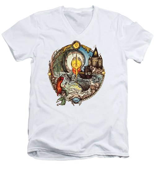 Mermaid Part Of Your World Men's V-Neck T-Shirt by Cat Dolch