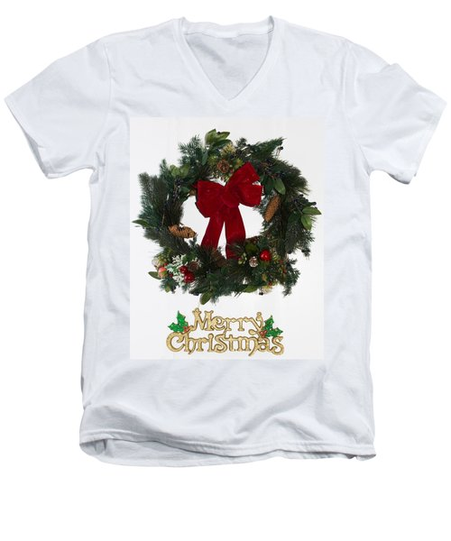 Merry Christmas Men's V-Neck T-Shirt by Kenneth Cole