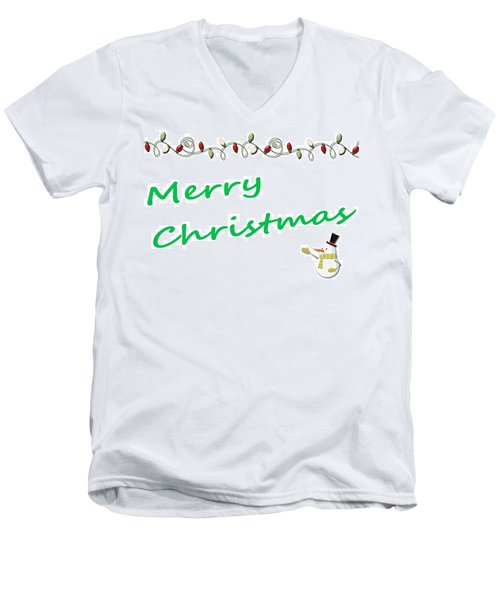 Merry Christmas Little Snow Man On White 2 Men's V-Neck T-Shirt