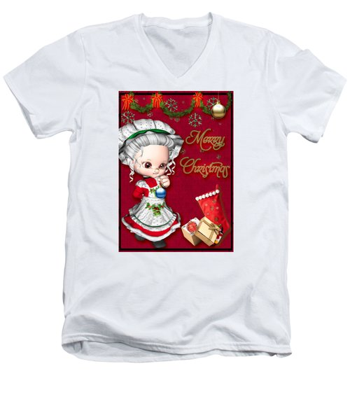 Merry Christmas Men's V-Neck T-Shirt by Paula Ayers