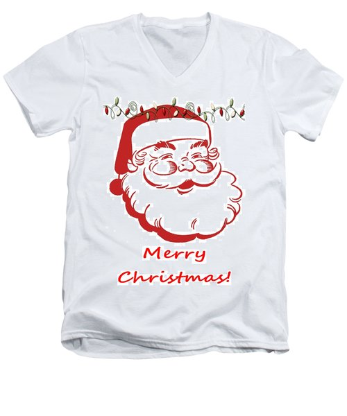Merry Christmas Santa Claus Vertical Men's V-Neck T-Shirt
