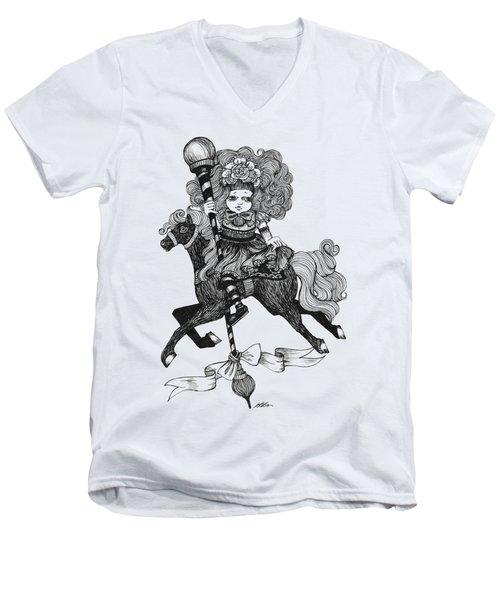 Merry-go-round Girl Men's V-Neck T-Shirt by Akiko Okabe