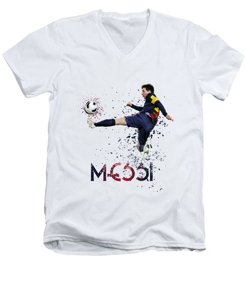 Messi Men's V-Neck T-Shirt by Armaan Sandhu