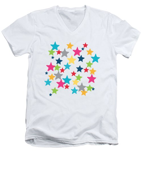 Men's V-Neck T-Shirt featuring the painting Messy Stars- Shirt by Linda Woods