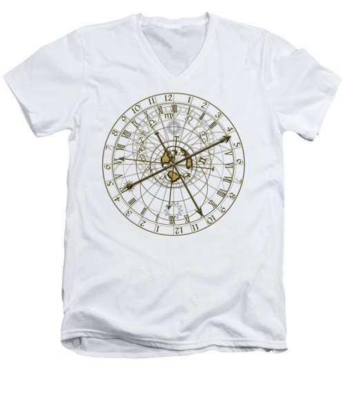 Metal Astronomical Clock Men's V-Neck T-Shirt