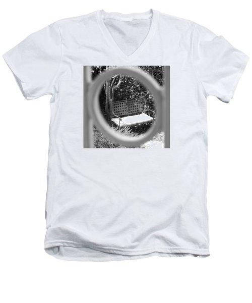 Metal Bench In Sedona Men's V-Neck T-Shirt by Claudia Goodell