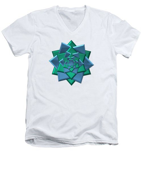 Men's V-Neck T-Shirt featuring the digital art Metallic Blue And Green 3-d Look Gift Bow by Rose Santuci-Sofranko
