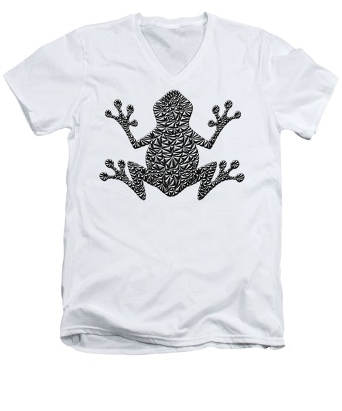 Metallic Frog Men's V-Neck T-Shirt by Chris Butler