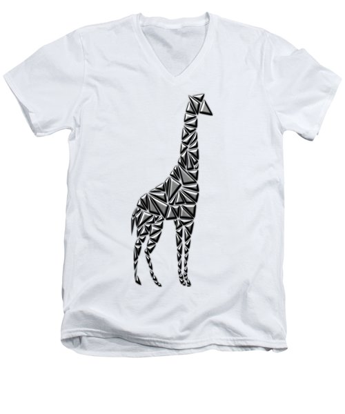 Metallic Giraffe Men's V-Neck T-Shirt by Chris Butler