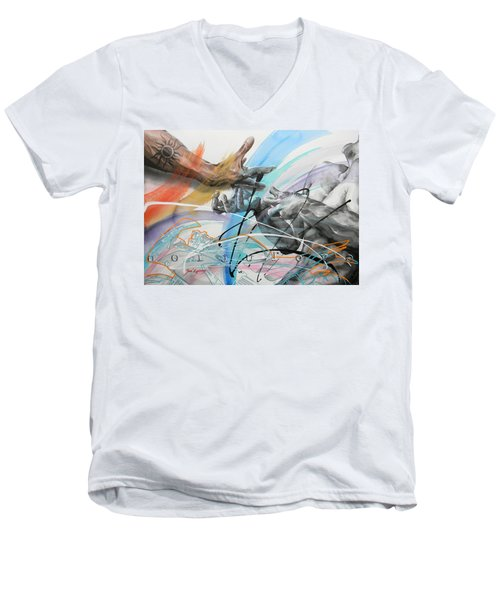 Men's V-Neck T-Shirt featuring the painting Metamorphosis by J- J- Espinoza