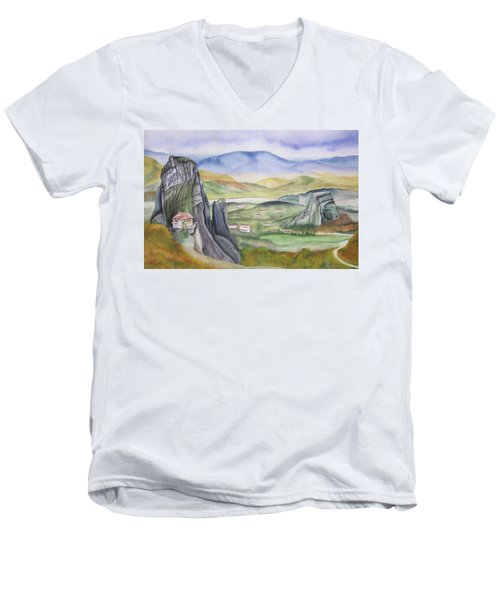 Men's V-Neck T-Shirt featuring the painting Meteora by Teresa Beyer