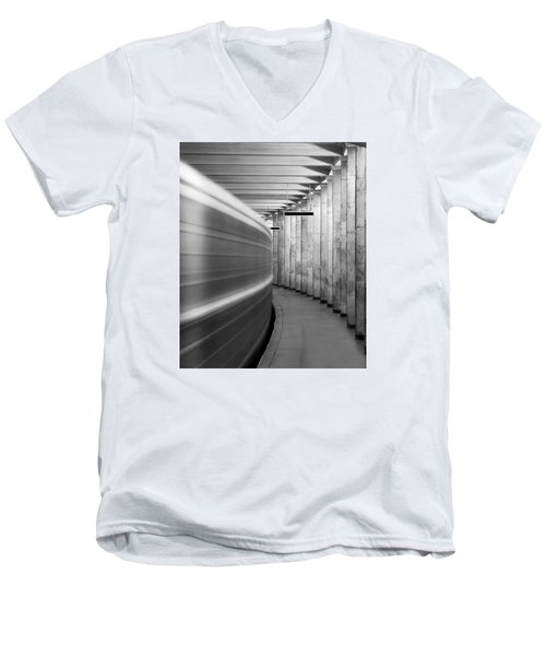 Metro #0110 Men's V-Neck T-Shirt by Andrey Godyaykin