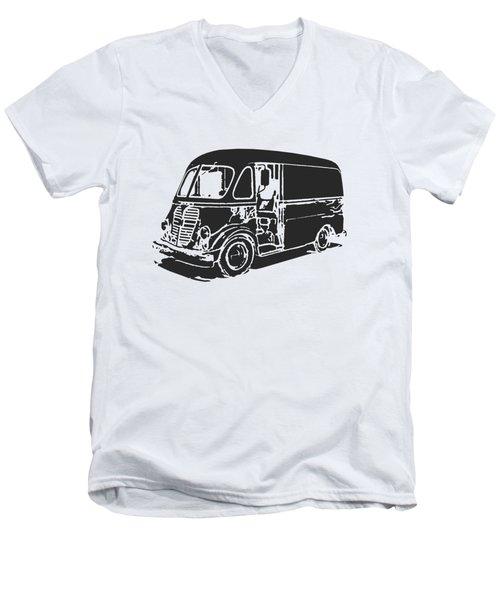 Metro Step Van Tee Men's V-Neck T-Shirt by Edward Fielding