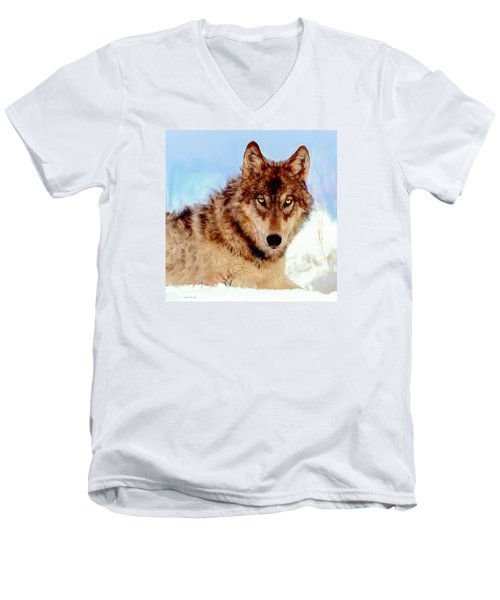 Mexican Wolf Painting Men's V-Neck T-Shirt